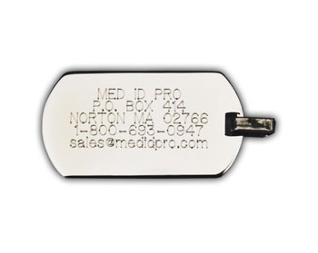 Engraved Medical Identification Necklace
